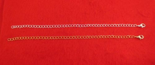 8 INCH 14KT GOLD & WHITE GOLD PLATED 4MM NECKLACE EXTENDER W/ LOBSTER CLAW SET