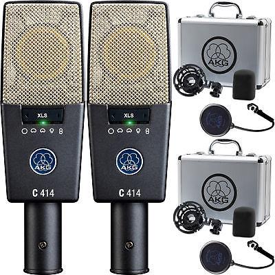 2x AKG C414 XLS Reference Multipattern Condenser Microphones C-414 Studio Mics