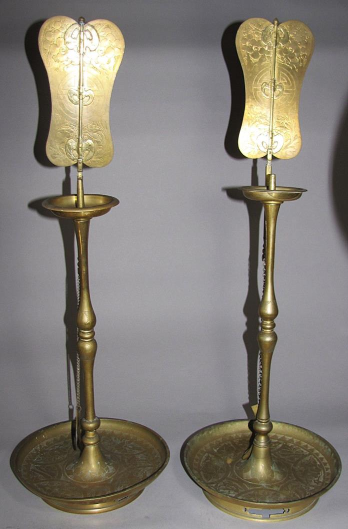 A Pair of Fine Korean Full Set of Brass Candle Sticks-19th C.