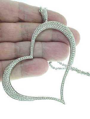 PIAGET 18K WG HUGE  DIAMOND  OPEN  HEART  PENDANT  NECKLACE