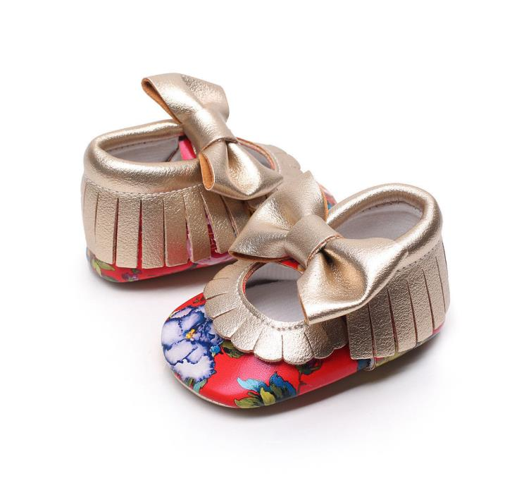 Beautiful baby girl floral soft bottom shoes