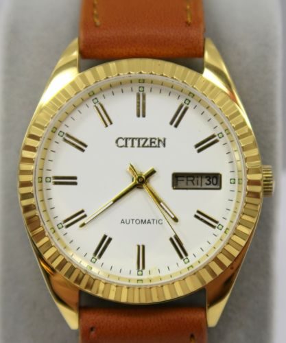 CITIZEN - Gold Tone w/ Brown Leather Band ~ Automatic 21 J Movement ~ Day / Date
