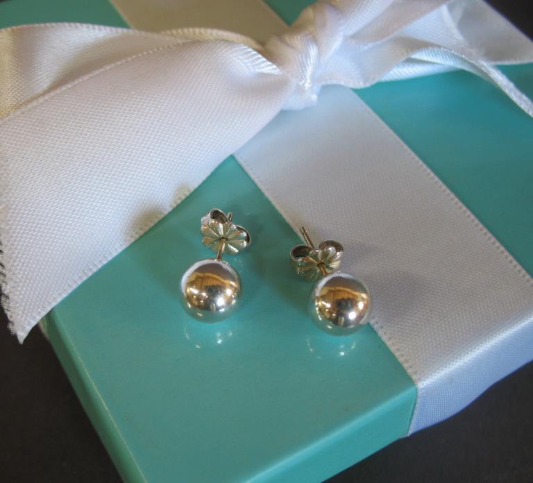 Tiffany & Co 8mm Bead Stud Earrings 925 Sterling Silver Box