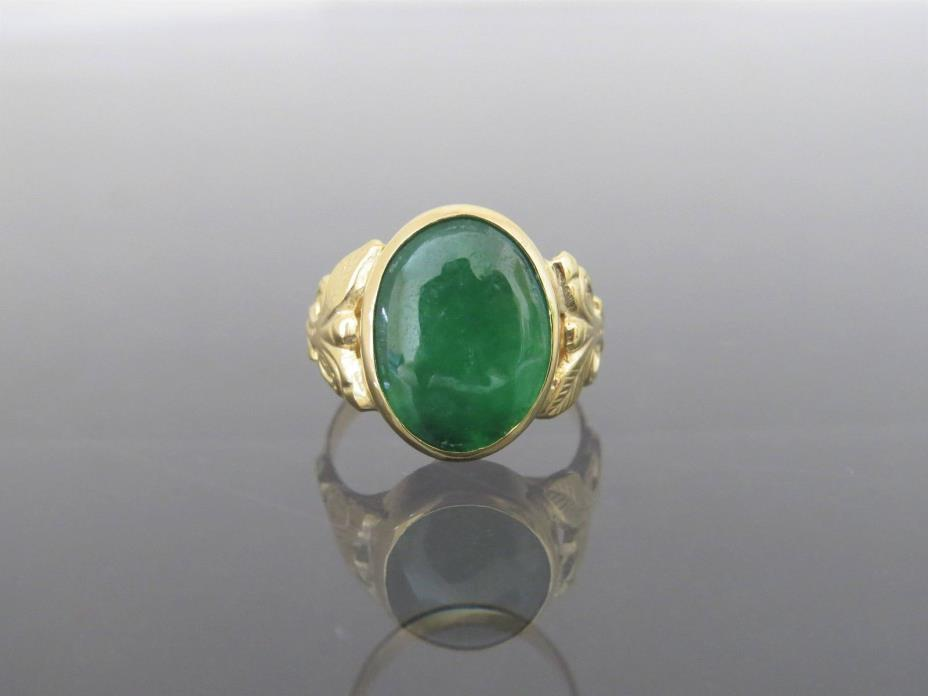 Vintage 18K Solid Gold Natural Emerald Green Jadeite Jade Flower Ring sz 6.25