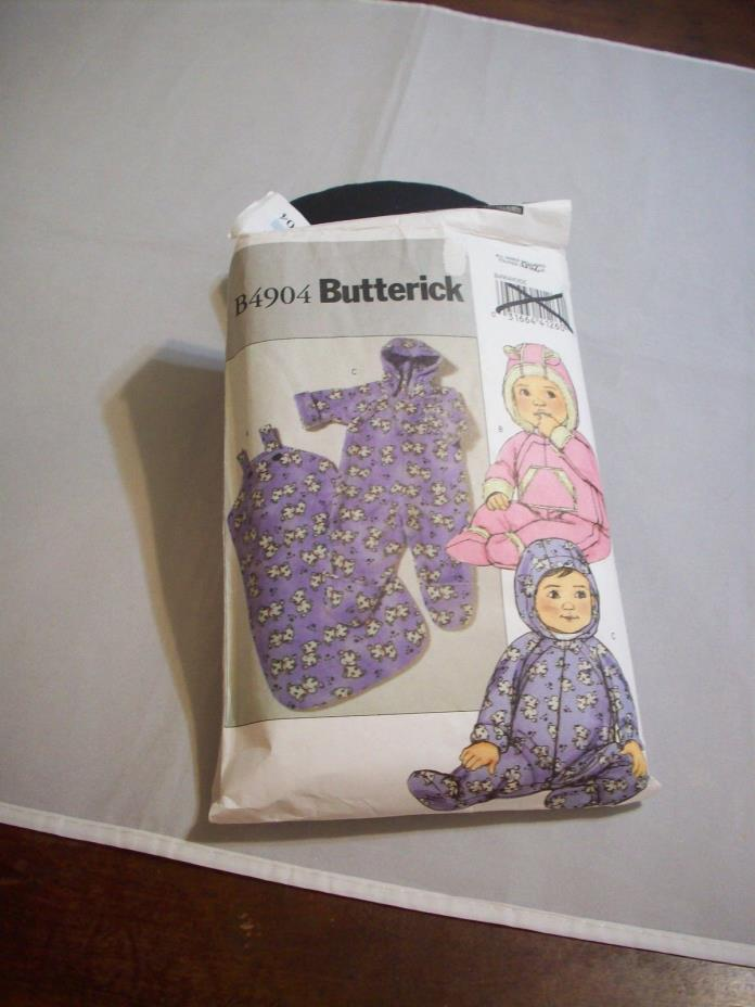 Pattern Sewing Butterick Sz.:NewBorn-L B4904 Infants'Bunting/Jumpsuit Cut (#163)