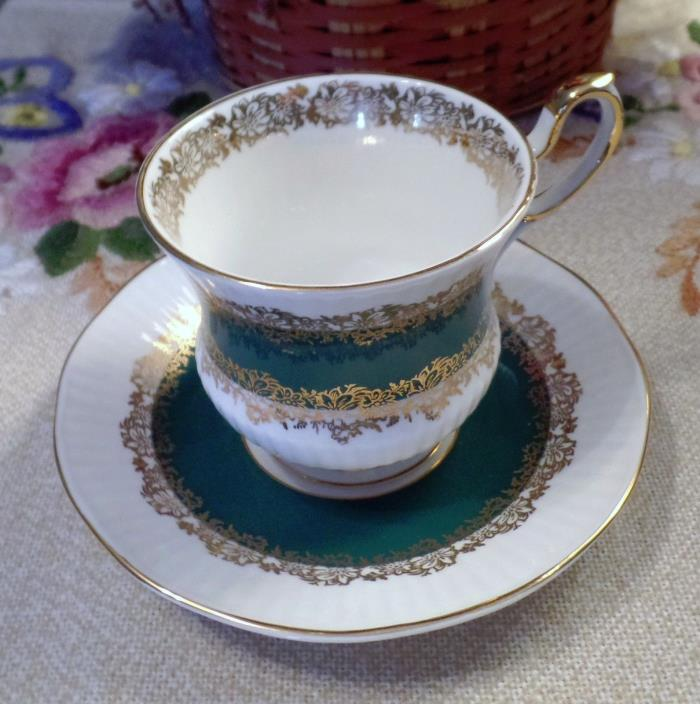 Vintage Collectible Queens Marquis Pattern Porcelain Teacup and Saucer