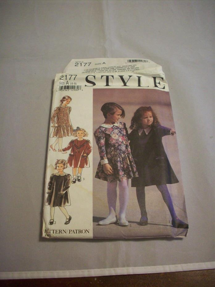 Pattern Sewing:Style 2177 Children's Dresses-3 Views  Sizes: 4-9 Unused (#923)