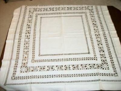 ANTIQUE CHIC WHITE LINEN MONOGRAM OPEN CROCHET TABLECLOTH SHABBY E or F 1910