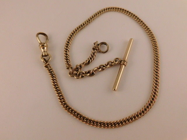 VINTAGE SIMMONS GOLD FILLED POCKET WATCH FOB CHAIN ANTIQUE T BAR