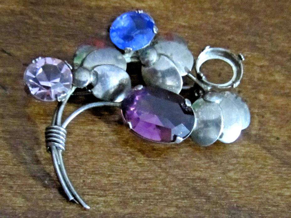 Large STERLING Silver VINTAGE Stones FLOWER Pin Brooch Repair Free Shipping!