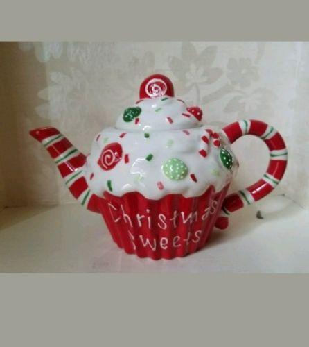 Cracker Barrel Cupcake Christmas Sweets & Treats Teapot