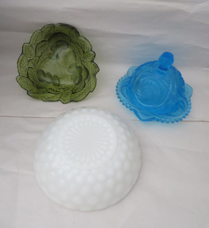 LOT OF 3 CARNIVAL GLASS CANDY DISH BUTTER DISH Milk Glass Bowl Green Blue White