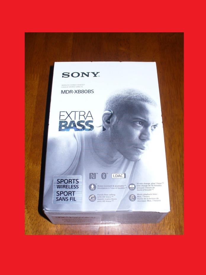 NEW Sony MDR-XB80BS Premium Wireless Black In-Ear Only Sports Headsets Headphone