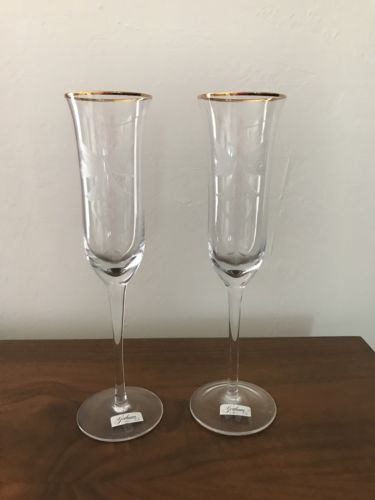 (2) Gorham Crystal 50th Anniversary Fluted Champagne Glasses