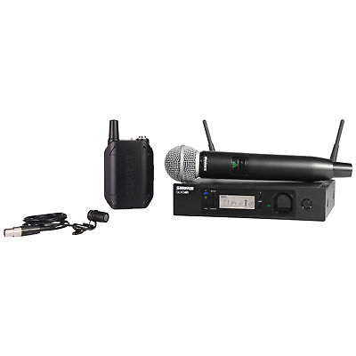 Shure GLXD124R/58 Rack Mountable Combo Wireless System with WL185 Lavalier Mic