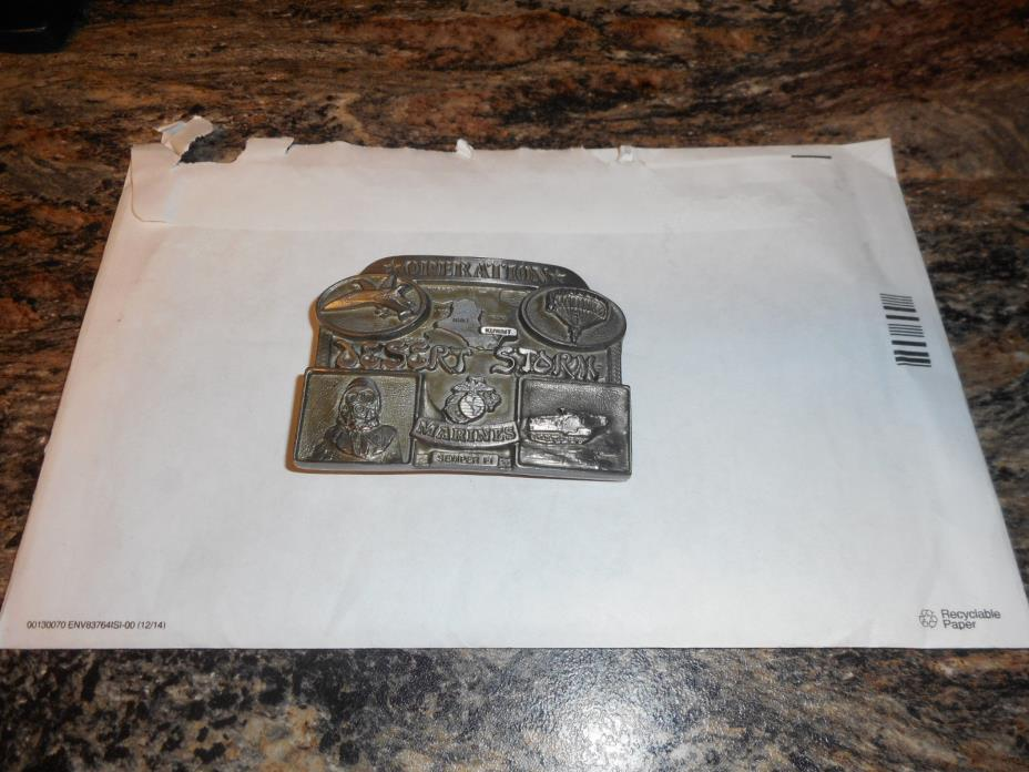 Operation Desert Storm Marines 1991 pewter belt buckle , Limited edition