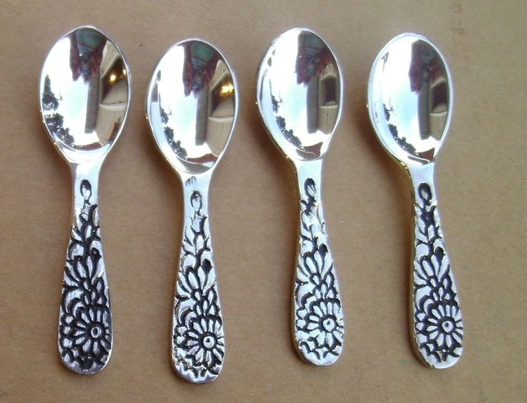Set of 4 SILVER METAL SALT SPOONS Salt Cellar Salt Dip Spoon # 1