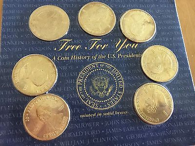 Coin History Of The U.S Presidents - Solid Brass Set of 7 - 1997 Reader Digest