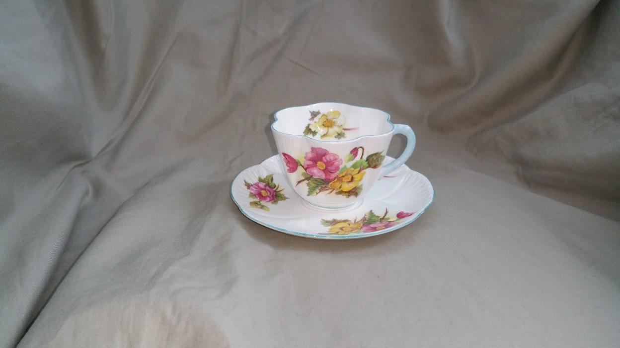 "Shelley Vintage Pink & Yellow ""Begonia"" Demitasse Cup and Saucer"