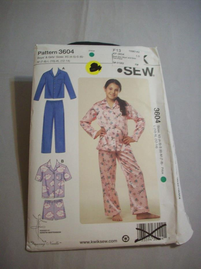 Pattern Sewing Kwik Sew Sz.:XS-XL #3604 2-Pc.PJ's Boys/Girls Uncut  (#162)