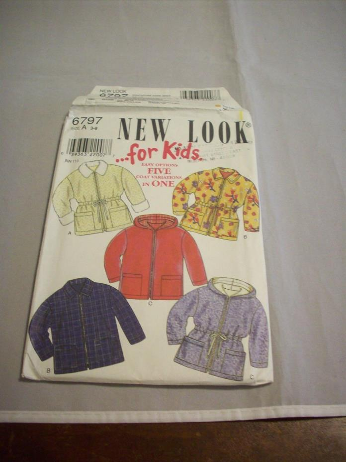 Pattern Sewing:New Look/Kids 6797 Child Coat/5 Views Sz: 3-8 Unisex Unused 925