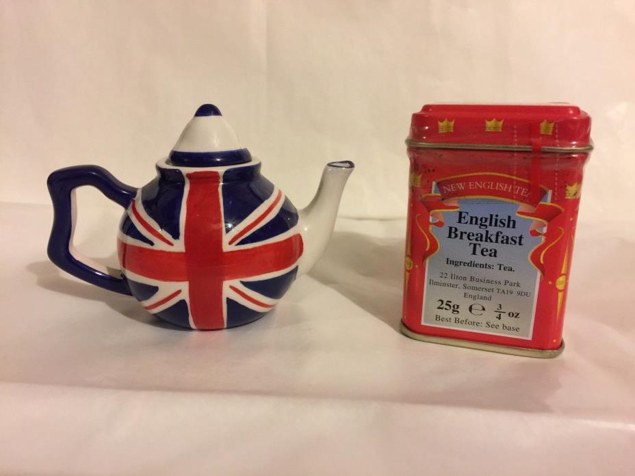 NEW ENGLISH TEAS GIFT SET MINI UNION JACK TEAPOT & TIN OF ENGLISH BREAKFAST TEA
