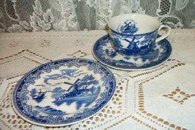 VINTAGE 30s CHIC JAPAN BLUE WHITE TRANSFERWARE CUP SAUCER SHABBY DUTCH WINDMILL