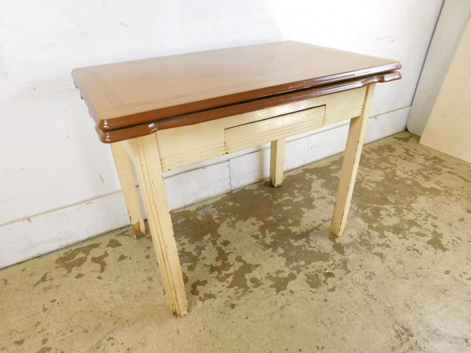 Wood Grain 50s Metal Enamel Top Refectory Expandable Kitchen Work Table Drawer