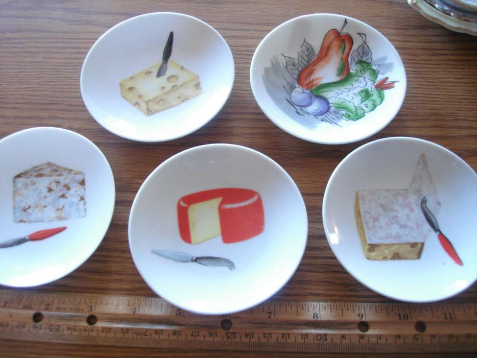 Ceramic Appetizer Cheese Bread Butter pat Plate Set Wall Coaster lot 4