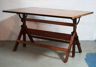 1950's solid oak STACOR DRAFTING TABLE Newark New Jersey 60 x 37 inch SOLID vg