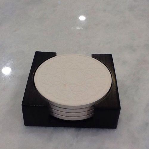 Set of 4 ThirstyStone Coasters in Dark Walnut Case