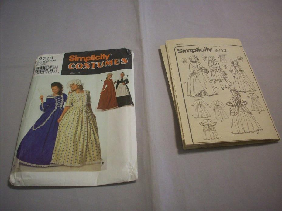 PatternSewing:#9713Simplicity Costumes Sz.10/12/14Puritan,Centennial313