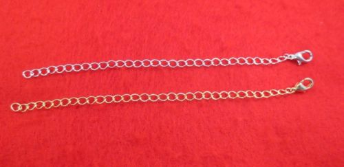 4 INCH 14KT GOLD & WHITE GOLD PLATED 4MM NECKLACE EXTENDER W/ LOBSTER CLAW SET