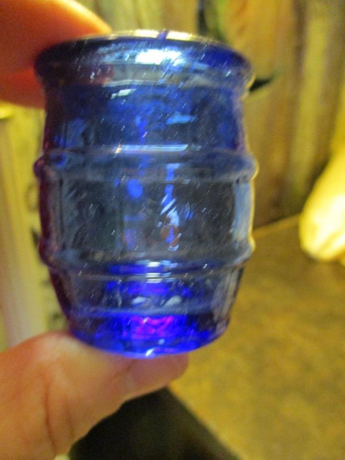VINTAGE COBALT BLUE SHOT GLASS? TOOTHPICK HOLDER? WHISKEY/BEER/PICKLE BARREL