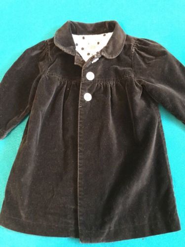 Cute Carter's Black Velour Girls Lined Baby Toddler Coat 18 months