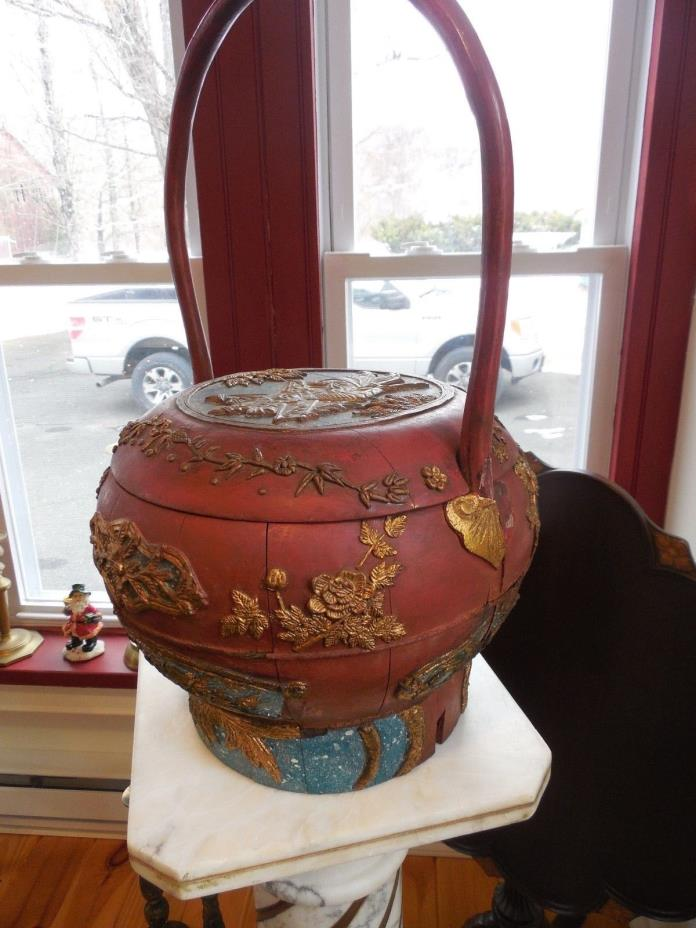 Antique Chinese Wedding Basket with Lid and Curved Handle