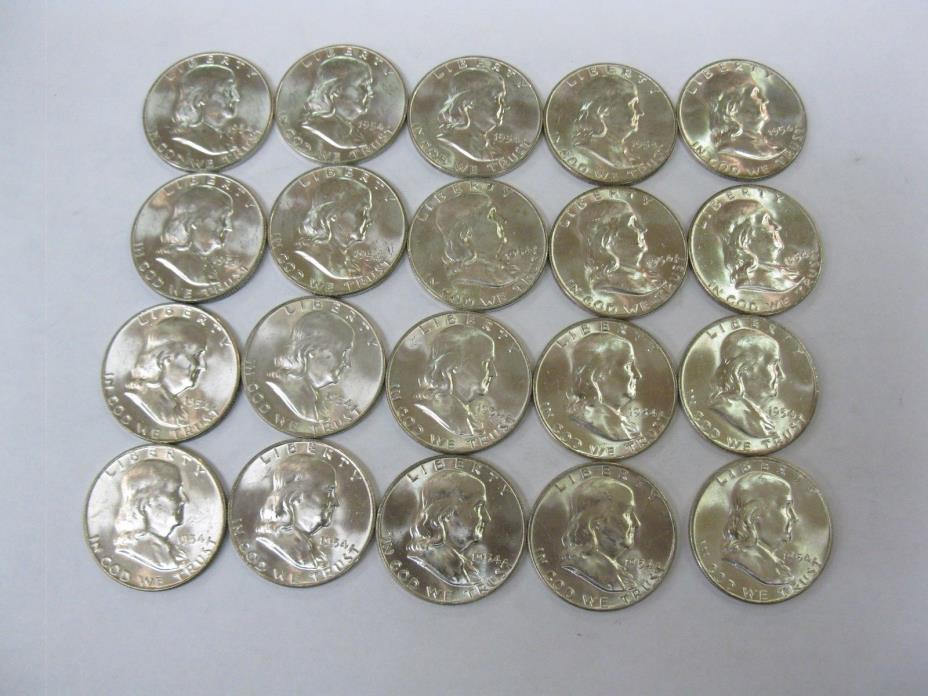 Original BU Uncirculated Roll of 1954-D Denver Franklin Half Dollars