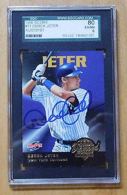 DEREK JETER  NY Yankees SIGNED 1996 SCORE DIAMOND ACES #11 Rookie BASEBALL CARD