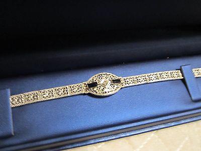 Vintage 14K White Gold Diamond and Sapphire Bracelet