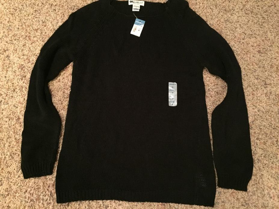 Eddie Bauer Vintage Black Sweater Cotton Loose Knit Medium with tags!