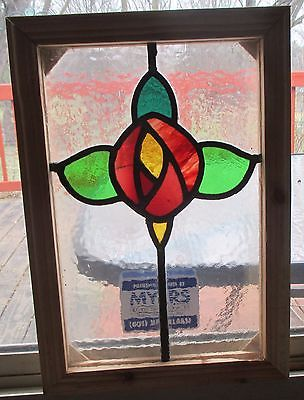 ANTIQUE VINTAGE OLD LEADED STAINED GLASS WINDOW REFRAMED