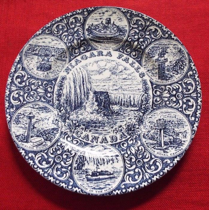 Vintage Blue Niagra Falls Canada Decorative Plate