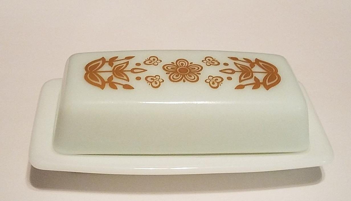 Vintage PYREX BUTTERFLY GOLD Covered Butter Dish White Milk Glass Flowers MCM