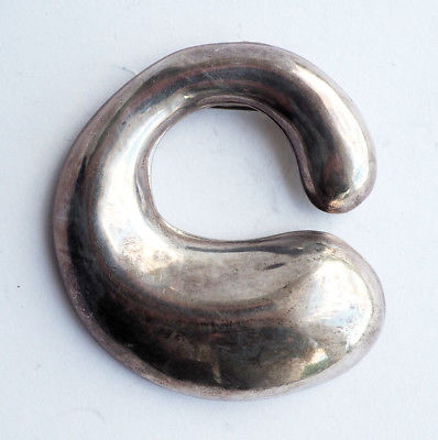 Vintage modernist large sterling silver organic shape brooch pin pendant Mexico