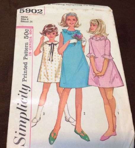 GIRLS SIMPLICITY PATTERN FROM 1965 CUTE DRESS