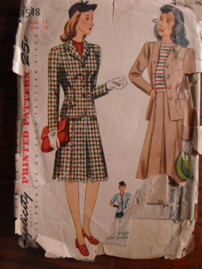 1940's VTG Simplicity SKIRT & JACKET Sewing Pattern Size 14 Bust 32