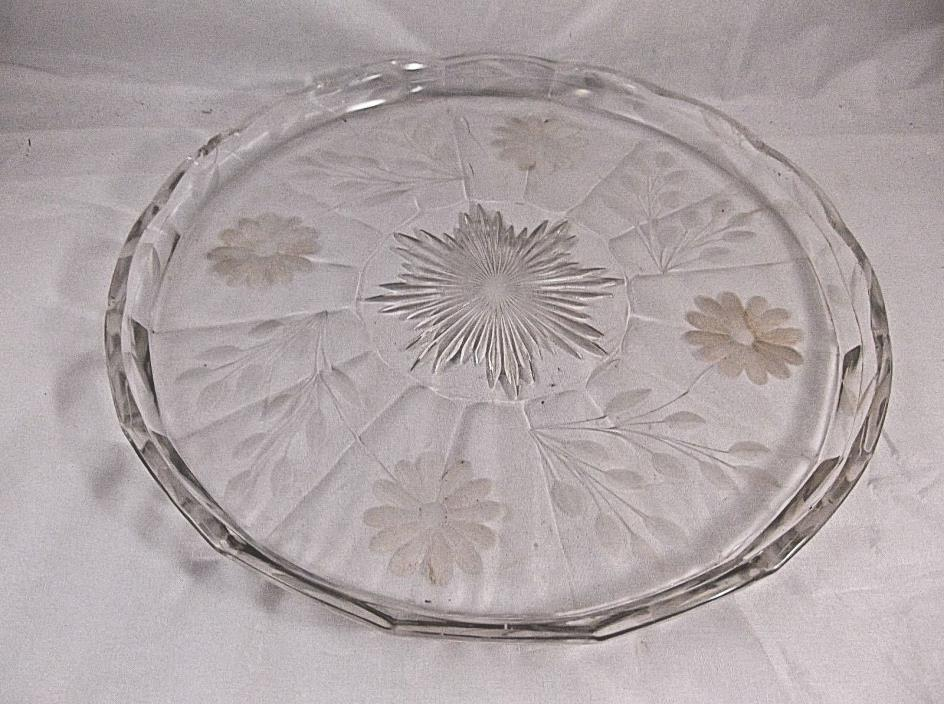 Vintage Etched Daisy Clear Glass 11