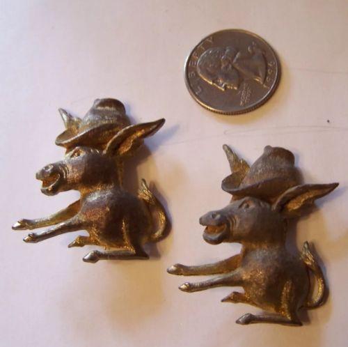 Vintage Pair  Mule DONKEY Pins Southern or Western Signed DINAH GEMS