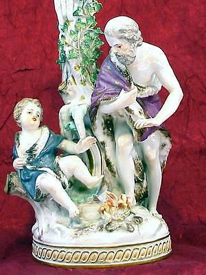 MEISSEN Porcelain PASTORAL SCENE CANDLEHOLDER ca.1840 ORIGINAL blue swords mark