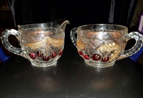 Vintage Mosser Cherry Lattice  Cream and Sugar Set